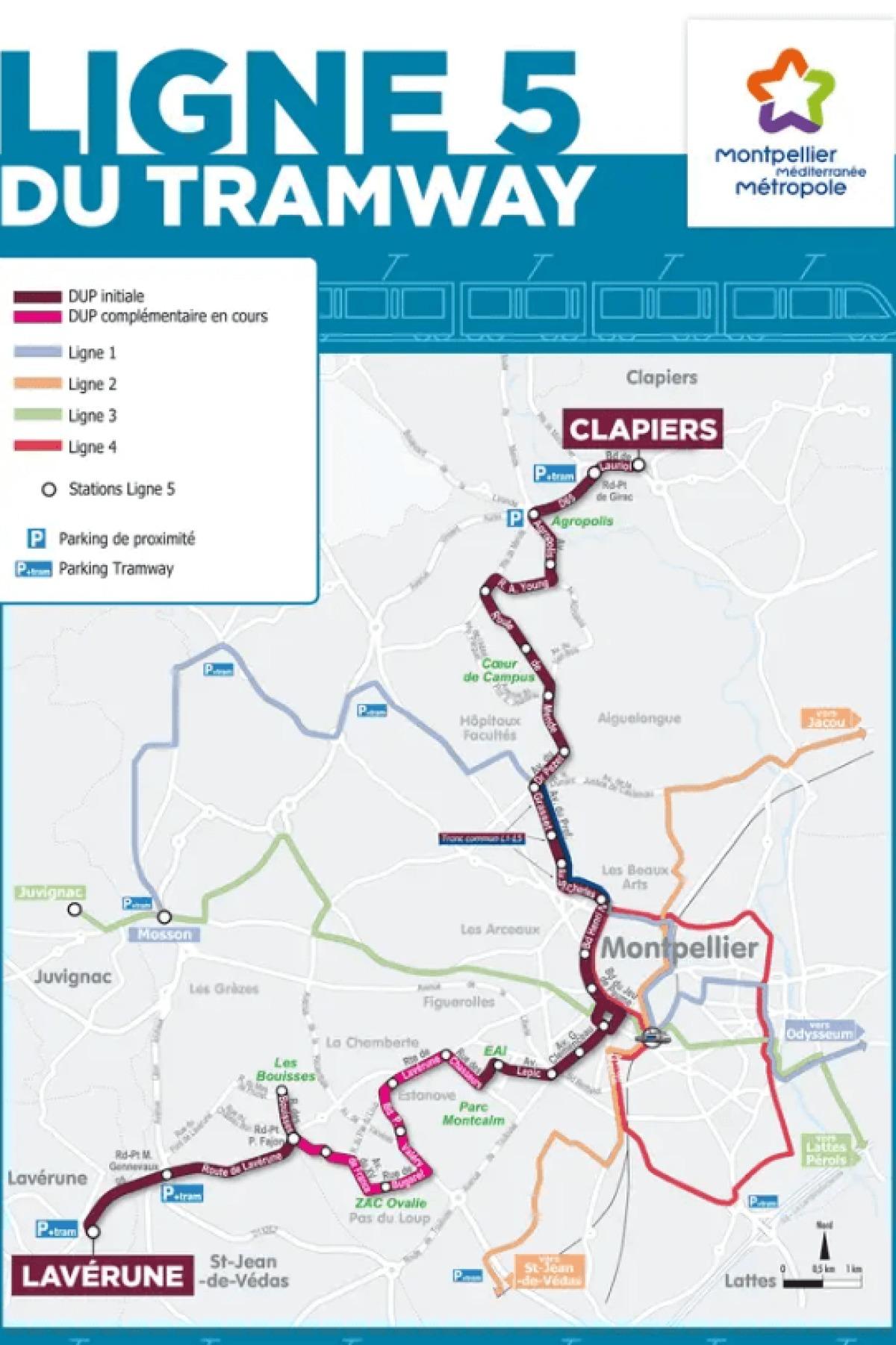 Le tracé de la ligne 5 du tramway à Montpellier