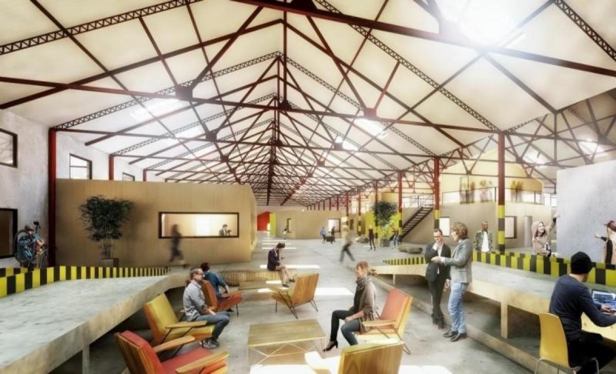 L'intérieur de la Halle Tropisme : le Tiers-lieu, un hangar de 4000m² pour du coworking culturel