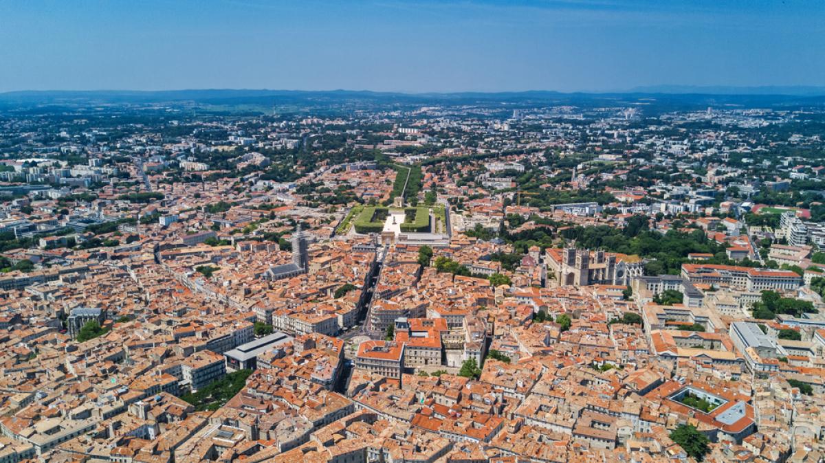Vue aérienne de la ville de Montpellier