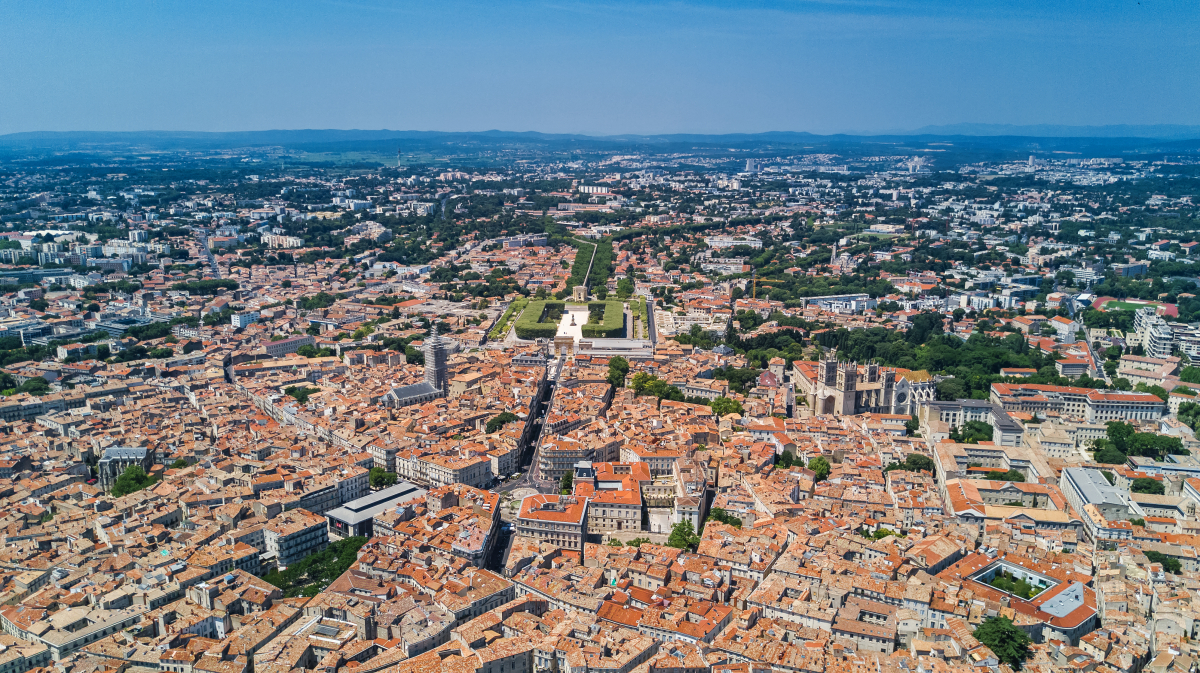 Vue aérienne de Montpellier