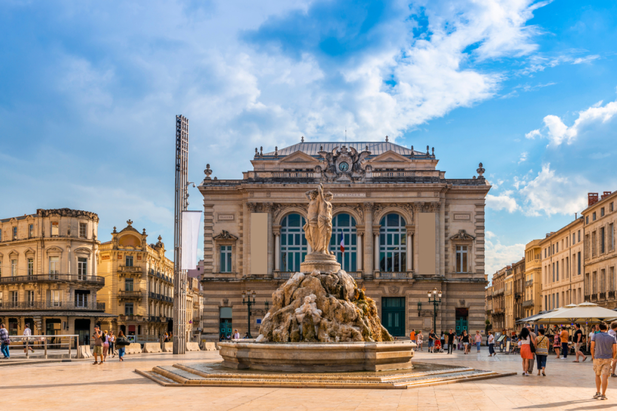 L'opéra et la fontaine des 3 Grâces, Place de la Comédie à Montpellier