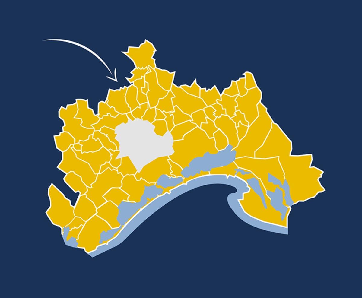 achat immobilier montpellier - Carte de la périphérie de Montpellier