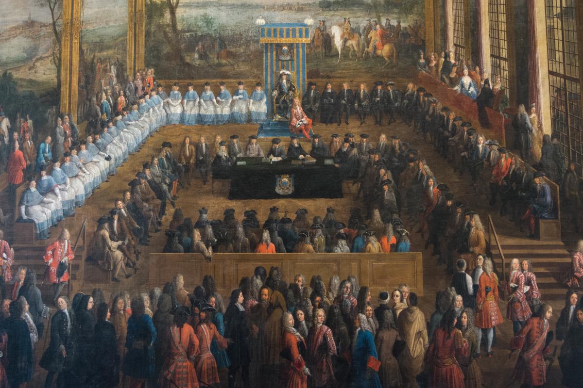 Histoire de Montpellier - Toile des États généraux du Languedoc sous la présidence du Maréchal-Duc de Villars à l'Hôtel de Ville de Montpellier