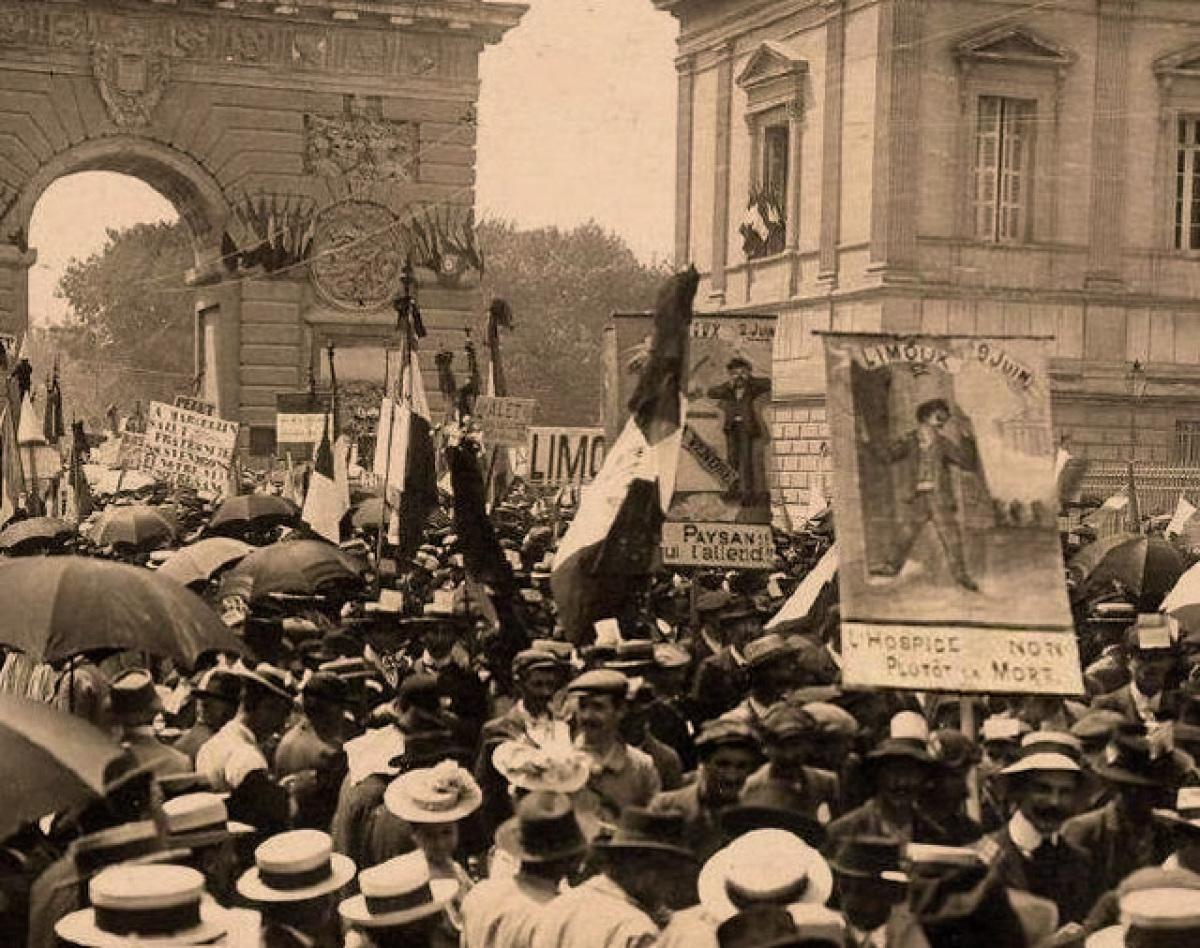 Histoire de Montpellier - Manifestation des viticulteurs à Montpellier en 1907