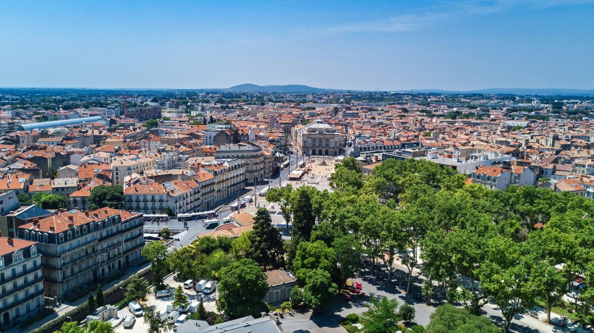 prix immobilier montpellier - vue aérienne sur la ville de Montpellier et son centre-ville