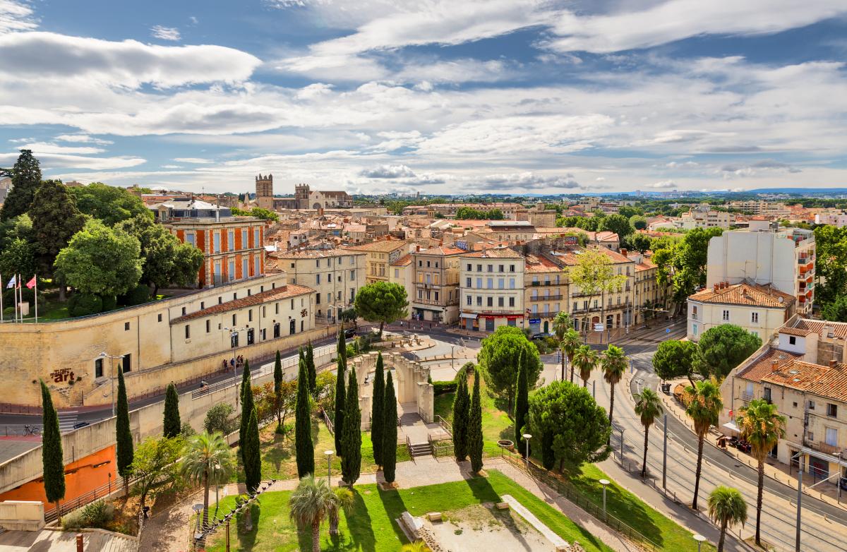 Quartier Hôpitaux-Facultés Montpellier – Vue aérienne panoramique de la vieille ville