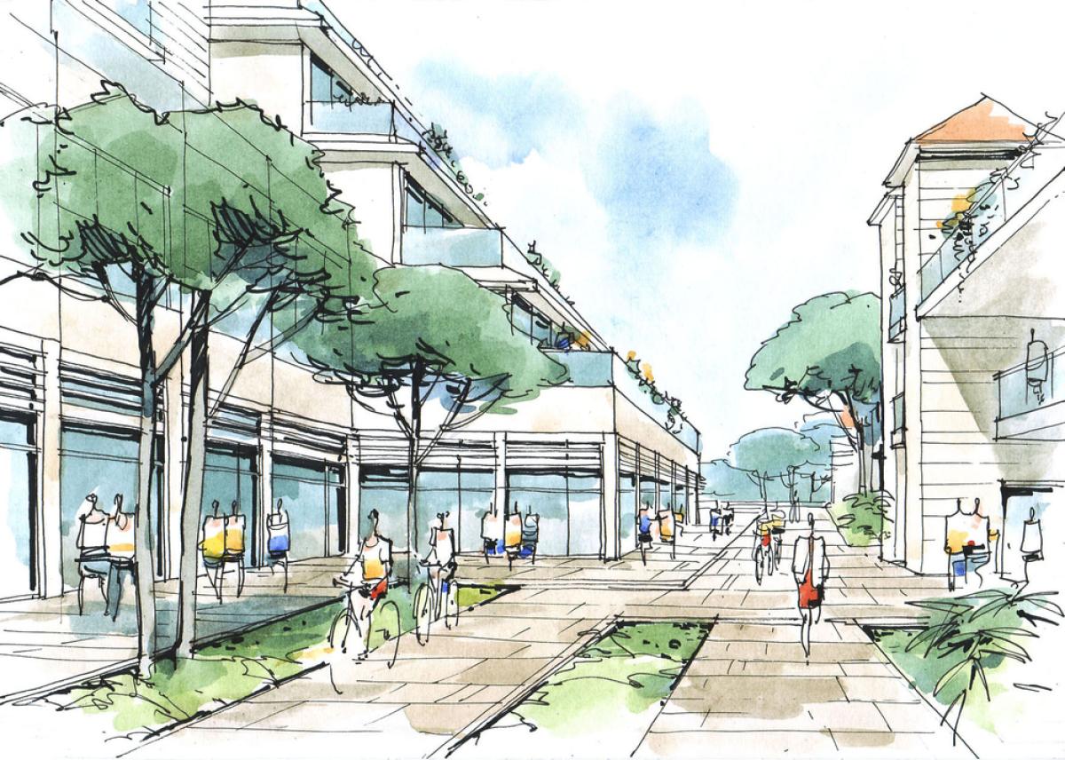 Restanque Montpellier – croquis d'une rue aérée et végétalisée