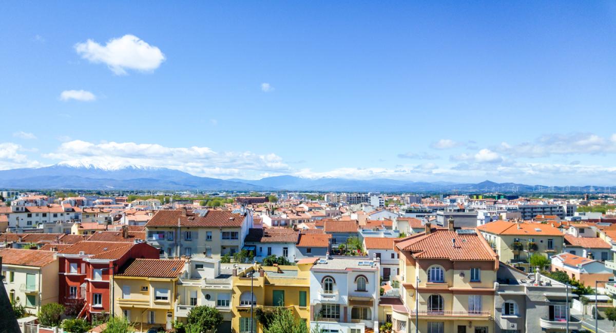 LGV Montpellier-Perpignan - vue aérienne sur Perpignan